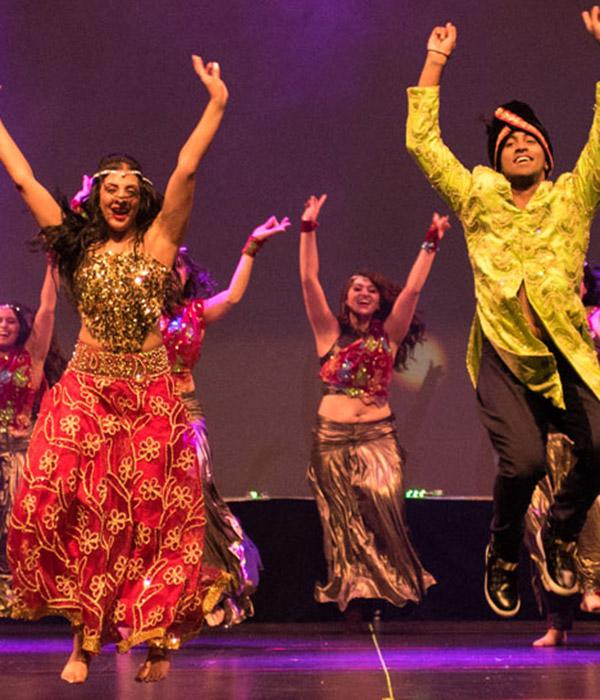 Dance artists from Shiamak's Bollywood Jazz perform
