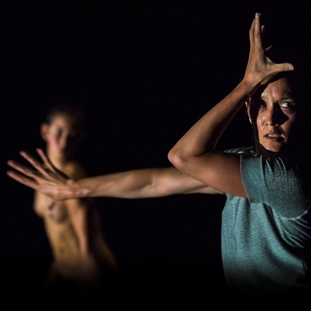 Two women perform Split by Lucy Guerin