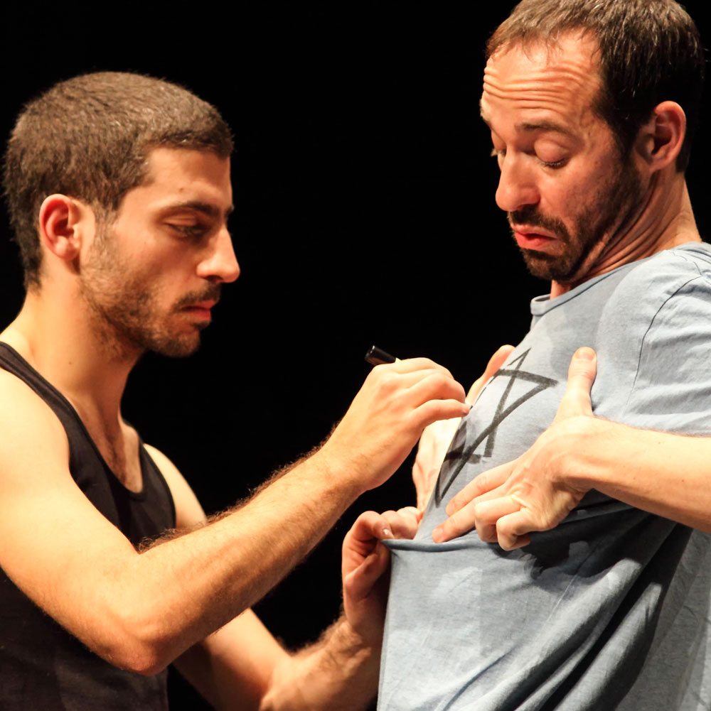 Hillel Kogan and Adi Boutrous perform in We Love Arabs