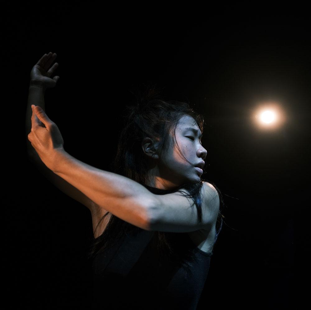 Dance artist Marissa Wong mid performance