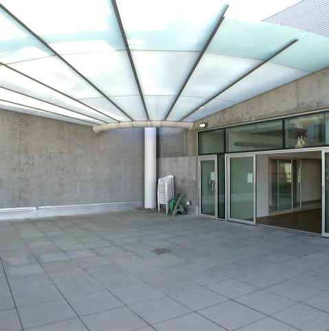 The patio and overhang at Scotiabank Dance Centre