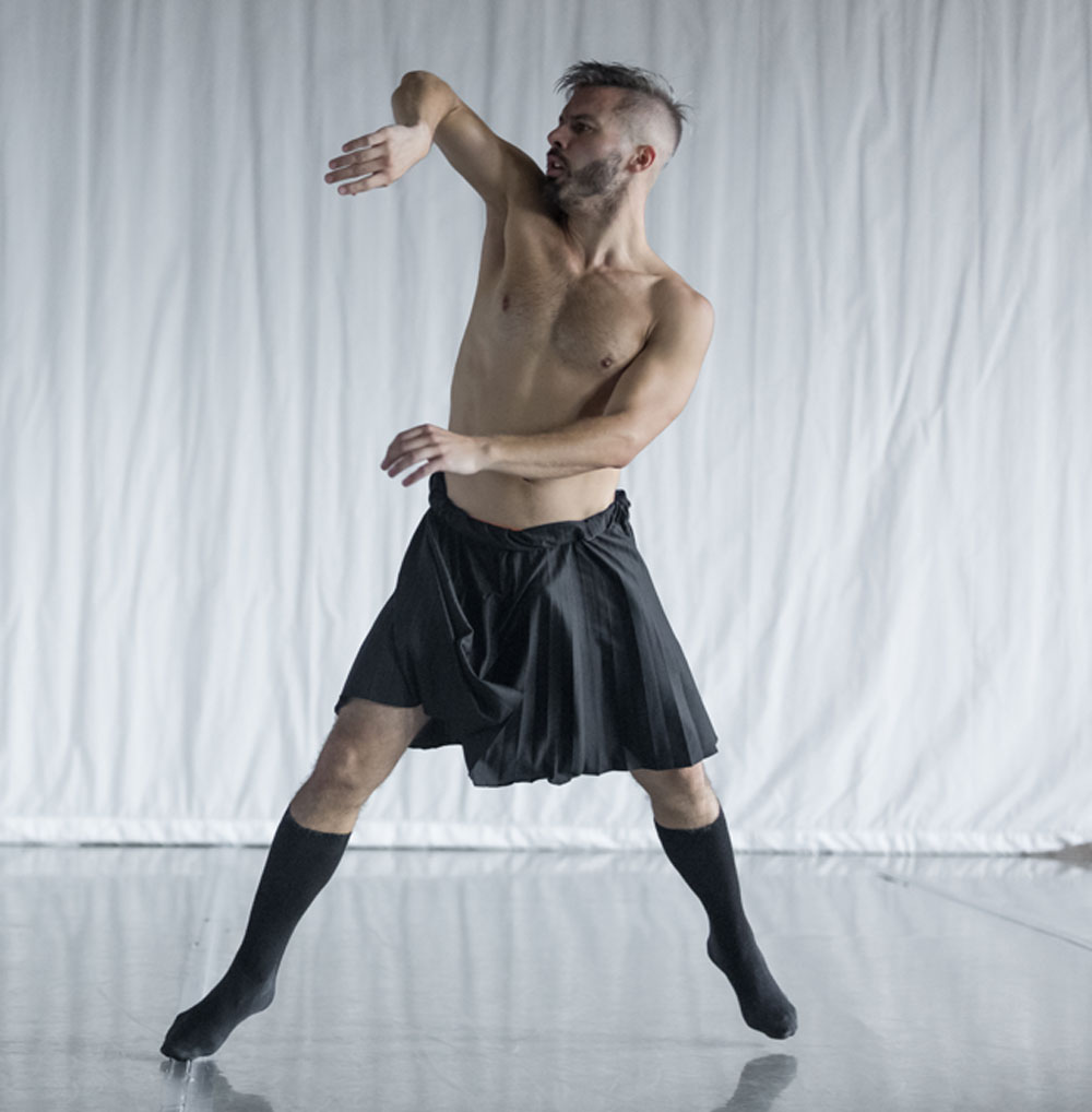 Dance artist Josh Beamish mid rehearsal
