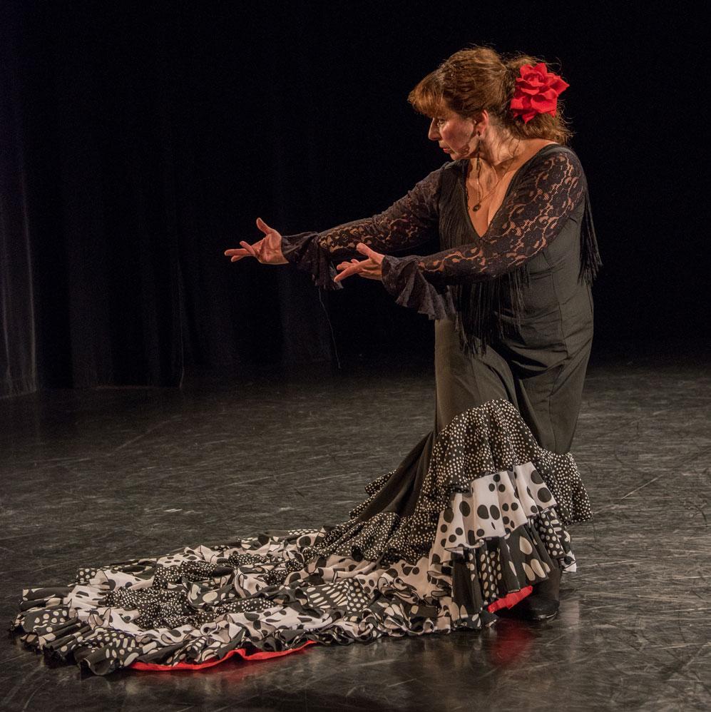 flamenco artist Linda Hayes poses