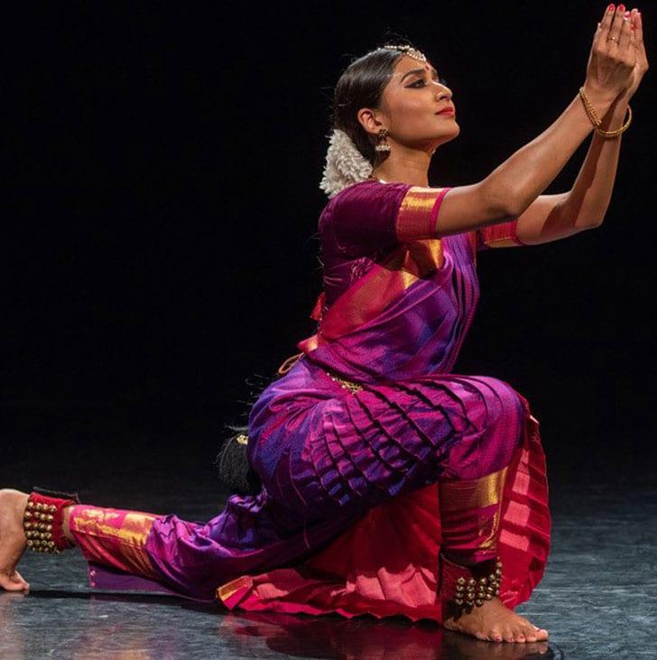 Dance artist Ashvini Sunadram poses mid performance