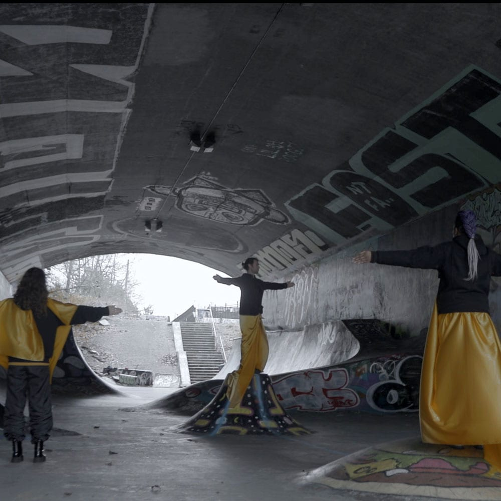 Dance artists from Kinesis dance perform in a skatepark