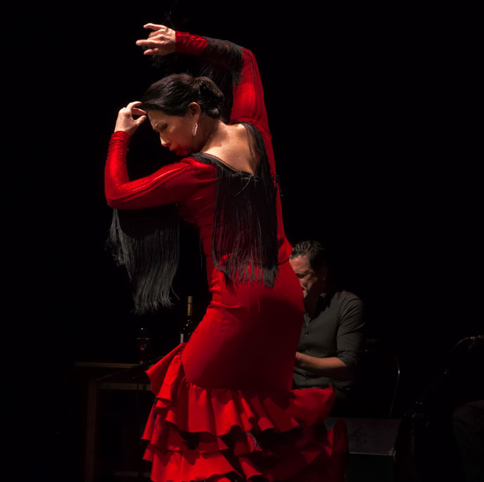 A female dance artists wearing a traditional red dress poses mid flamenco move with her arms above her head